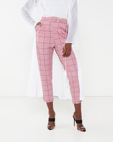 Legit Check Slim Leg Pants Buckle Detail Check Pink
