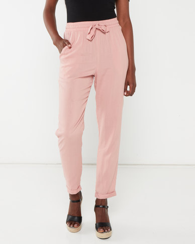 Legit Drapey Tapered Drawcord Pants Blush