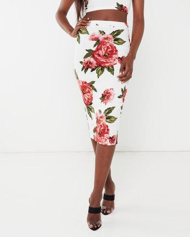 Legit Floral Pencil Skirt Floral Multi