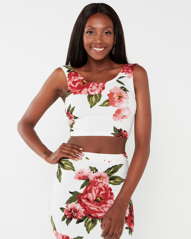 Legit Floral Crop Top Floral Multi