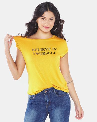 Legit Drapey Believe Tee Mustard