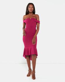 Legit V Prong OTS Flounce Hem Bodycon Dress Raspberry
