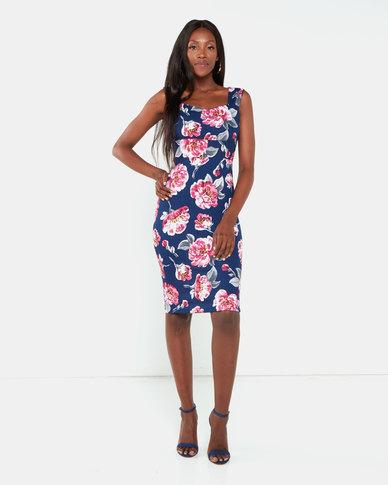 Legit Floral Bodycon Dress  Blue