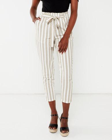 Legit Stripe Linen Tapered Pants White/Beige