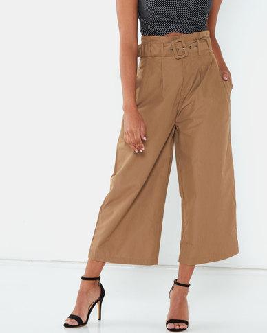 Legit Buckle Belt Paper Bag Culotte Khaki