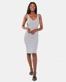 Legit V Neck Tube Midi Dress Black/White