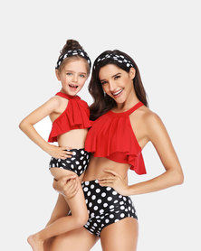 Iconix Mother or Daughter Matching Swimsuit - Red with Polka Dot