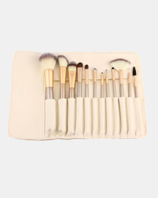 Iconix 12 Piece Makeup Brushes Set  Champagne Gold