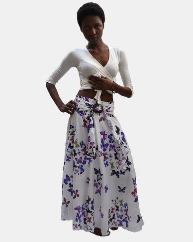 SKA Butterfly Coconut Belt Skirt Purple