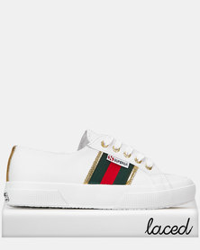 Superga Leather 'G' Lace J33 White Green Gold