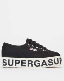 Superga Canvas Logo Wedge 999 Black White