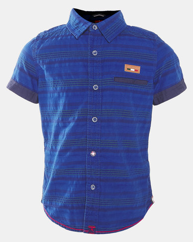 Soviet B Truro Boys Short Sleeve Shirt Blue