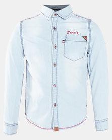 Soviet B Randers Boys Long Sleeve Denim Shirt Light Indigo