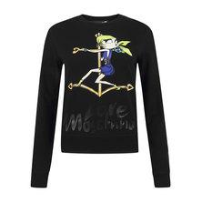 Love Moschino  Women's Cotton Cartoon Long T-Shirt Hoodie W630207 00M88   Black