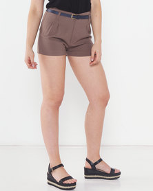 Utopia Shorts With Skinny Belt Taupe