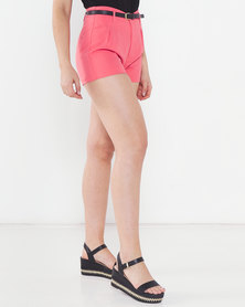 Utopia Shorts With Skinny Belt Pink