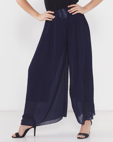 Utopia Pleated Wide Leg Pants Navy