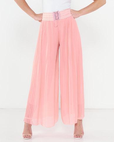 Utopia Pleated Wide Leg Pants Pink