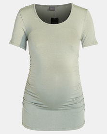 Cherry Melon Round Neck Top With Side Detail Short Sleeve Fatigue Green