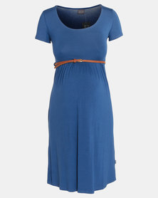 Cherry Melon New Belted Scoop Neck Dress Cap Sleeve Indigo
