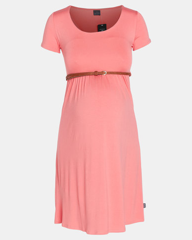 Cherry Melon Belted Scoop Neck Dress Cap Sleeve Coral