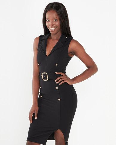 Sissy Boy Girl Boss Collared Dress Black