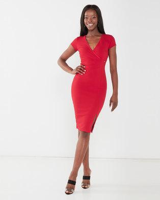 Sissy Boy Girl Boss Ruched Midi Dress Deep Red