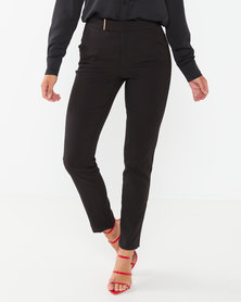 Sissy Boy Mid Rise Trousers With Gold Tab Black