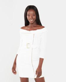 Sissy Boy Boity Bardot Dress Off White