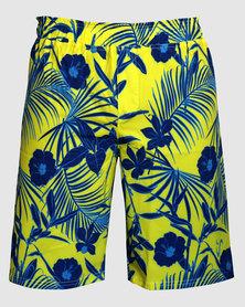 Vivolicious Summer Vibes Men's Active Cruiser Shorts Blue/Yellow