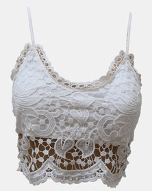 SKA Design Lace Back Zip Bras White