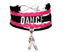 Urban Charm Dance Infinity Bracelet - Black, Fuschia pink