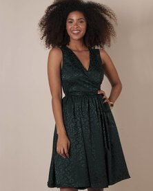Marique Yssel Woven Wrap Dress - Fir (Animal Jacquard)