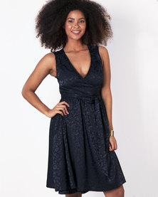 Marique Yssel Woven Wrap Dress - Navy (Animal Jacquard)