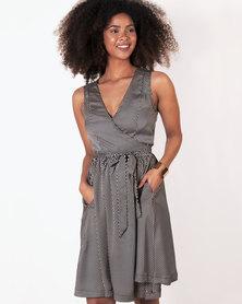 Marique Yssel Woven Wrap Dress - Twill Satin - Black Diamond