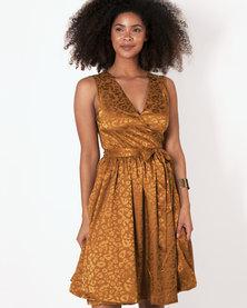 Marique Yssel Woven Wrap Dress - Mustard (Animal Jacquard)