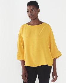 Utopia Woven 3/4 Sleeve Top Mustard