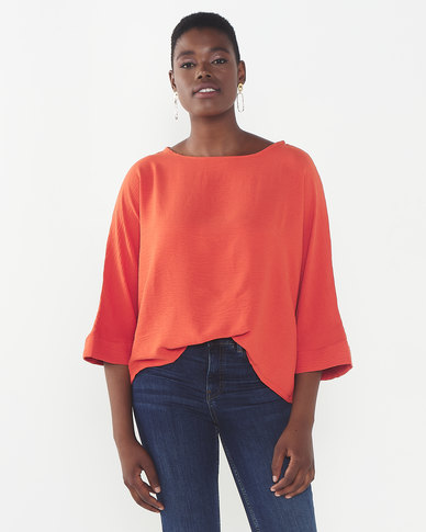 Utopia Woven 3/4 Sleeve Top  Orange