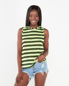 Utopia Stripe Knot Back Tee Yellow/Black