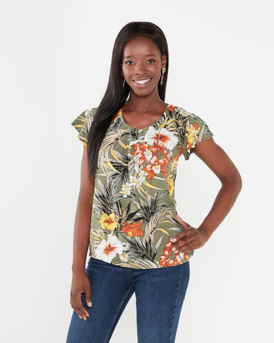 Utopia Tropical Print Flutter Sleeve Top Olive