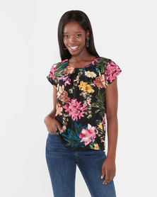 Utopia Floral Print Flutter Sleeve Top Pink Multi