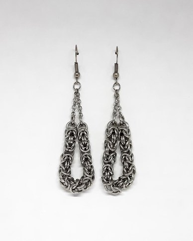 Apparition Byzantine Weave Loop Earrings - Silver-Tone