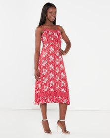 Utopia Floral Print Knit Maxi Dress Red