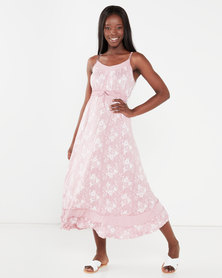 Utopia Print Knit Maxi Dress Pink Floral