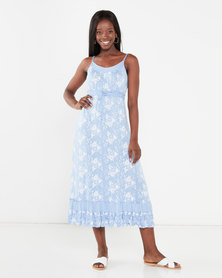 Utopia Floral Print Knit Maxi Dress Light Blue