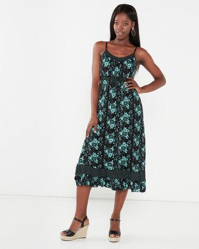 Utopia Floral Print Knit Maxi Dress Black