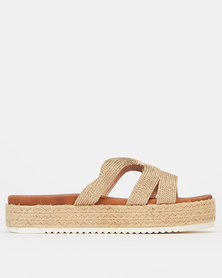 Wild Alice by Queue Metallic Detail Espadrille Slides Gold