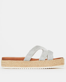 Wild Alice by Queue Metallic Detail Espadrille Slides Silver