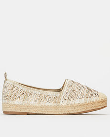 Queue Shimmer Espadrille Gold