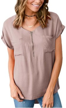 SHORTSLEEVE COLLARLESS UTILITY STYLE BLOUSE WITH FRONT POCKET & ZIP DETAIL